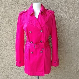 Tommy Hilfiger Hot Pink Trench Coat Large